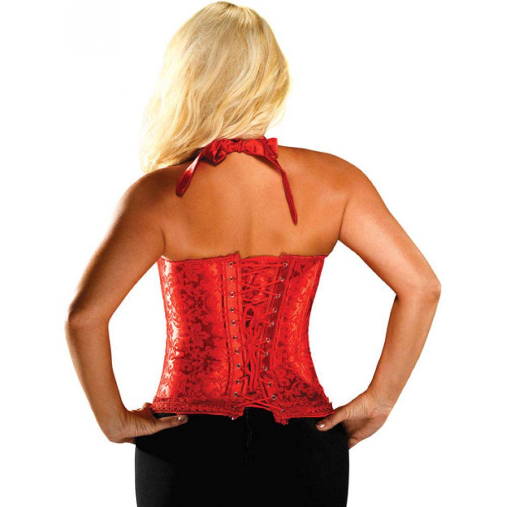 Bonitaz Tonal Floral Print Halter Tie Top Corset with Acrylic Boning Size 38 Red - View #2