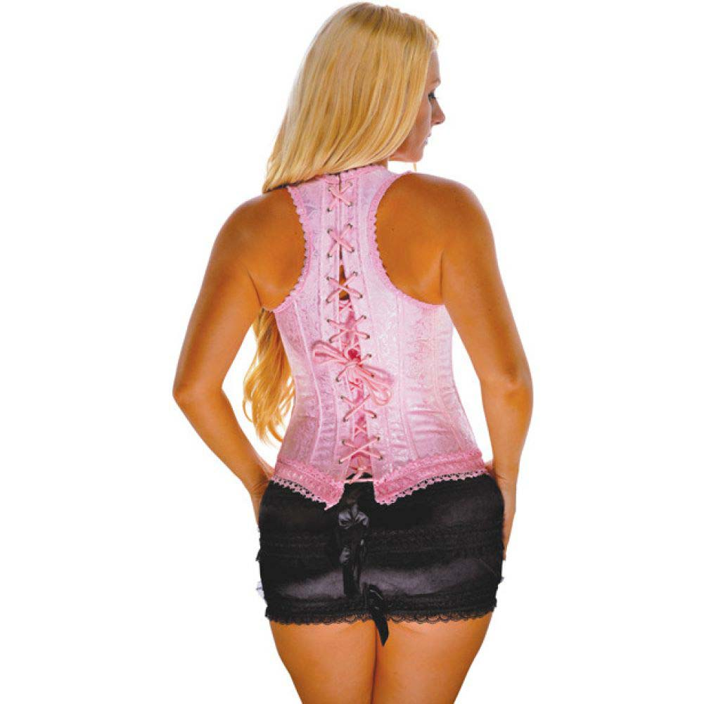 Brocade Pattern Razor Back Corset with Hook and Eye Front Closure and Acrylic Boning Pink 38 - View #2