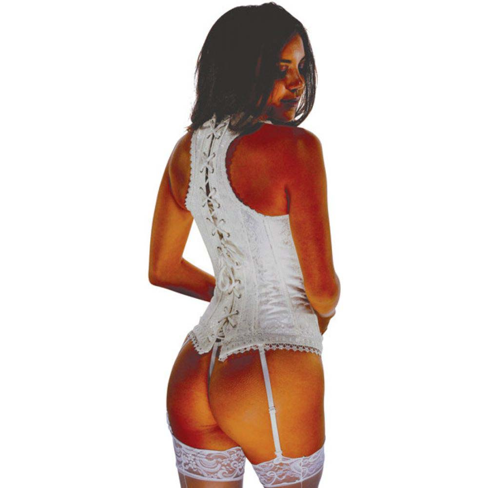 Brocade Pattern Razor Back Corset with Hook and Eye Front Closure and Acrylic Boning 40 White - View #2
