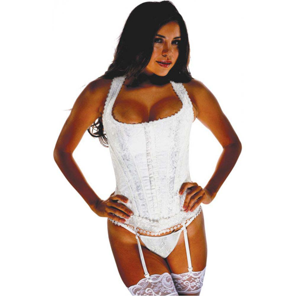 Brocade Pattern Razor Back Corset with Hook and Eye Front Closure and Acrylic Boning Ivory 32 - View #1
