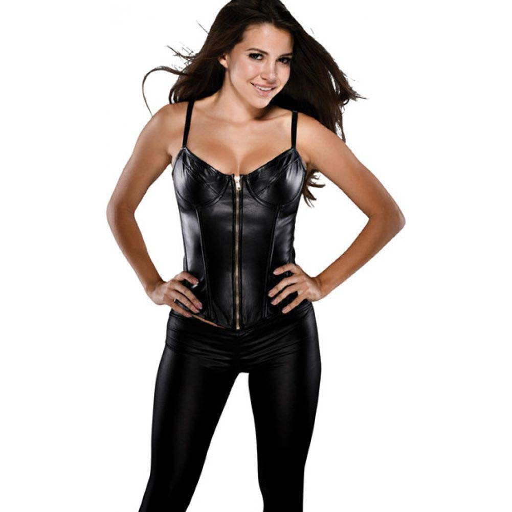 Faux Leather Corset with Adjustable Straps Underwire Cup and Acrylic Boning Black Small - View #1