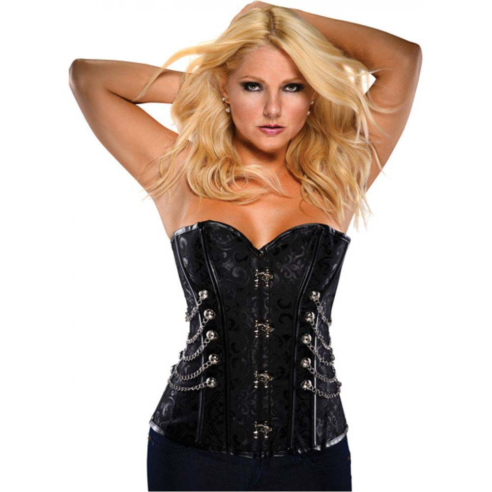 Steampunk Brocade Pattern Corset with Acrylic Boning Black 2X - View #1