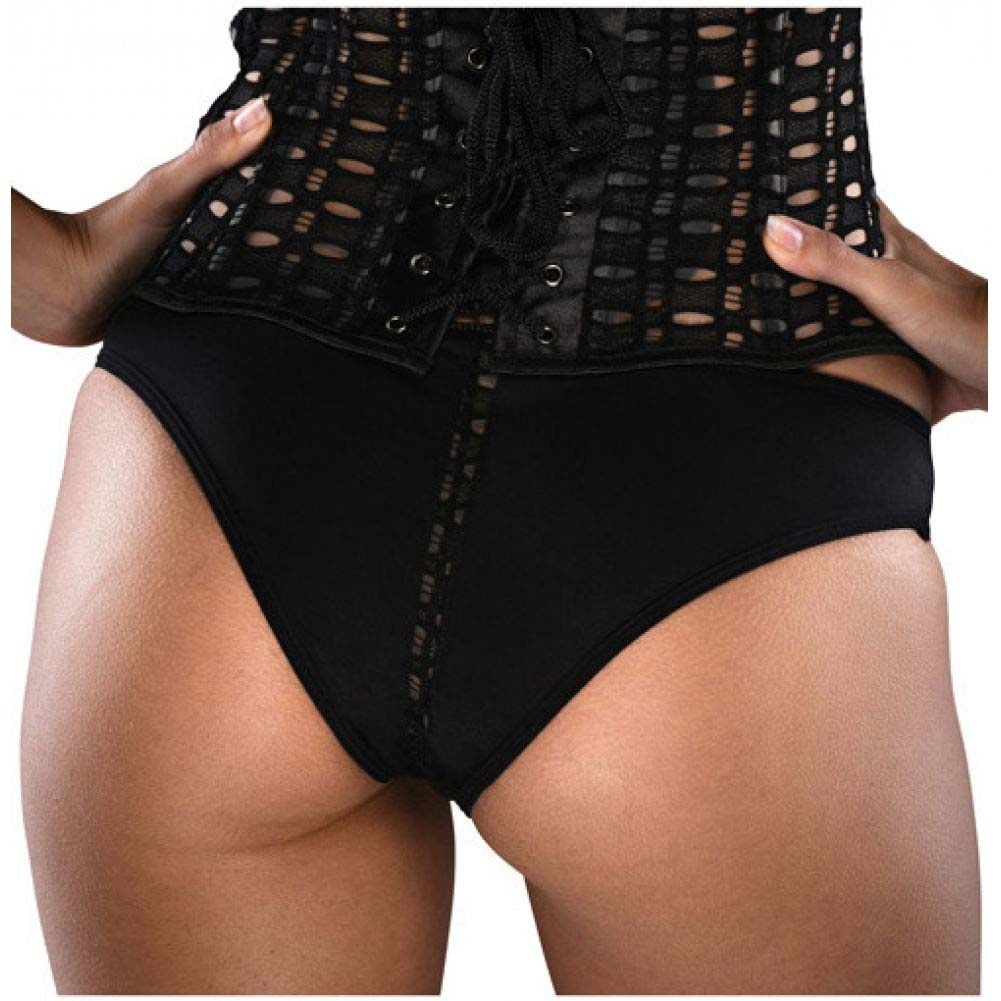 Razorback Corset with Pot-Hole Feature Side Zipper Padded Cup Side Boning and Panty Black 32 - View #3