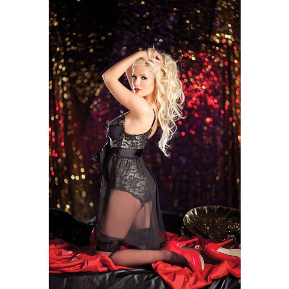 Body Shaper Tie Side Babydoll with Lace Overlay Garters and Snap Bottom Nude Black Extra Large - View #1