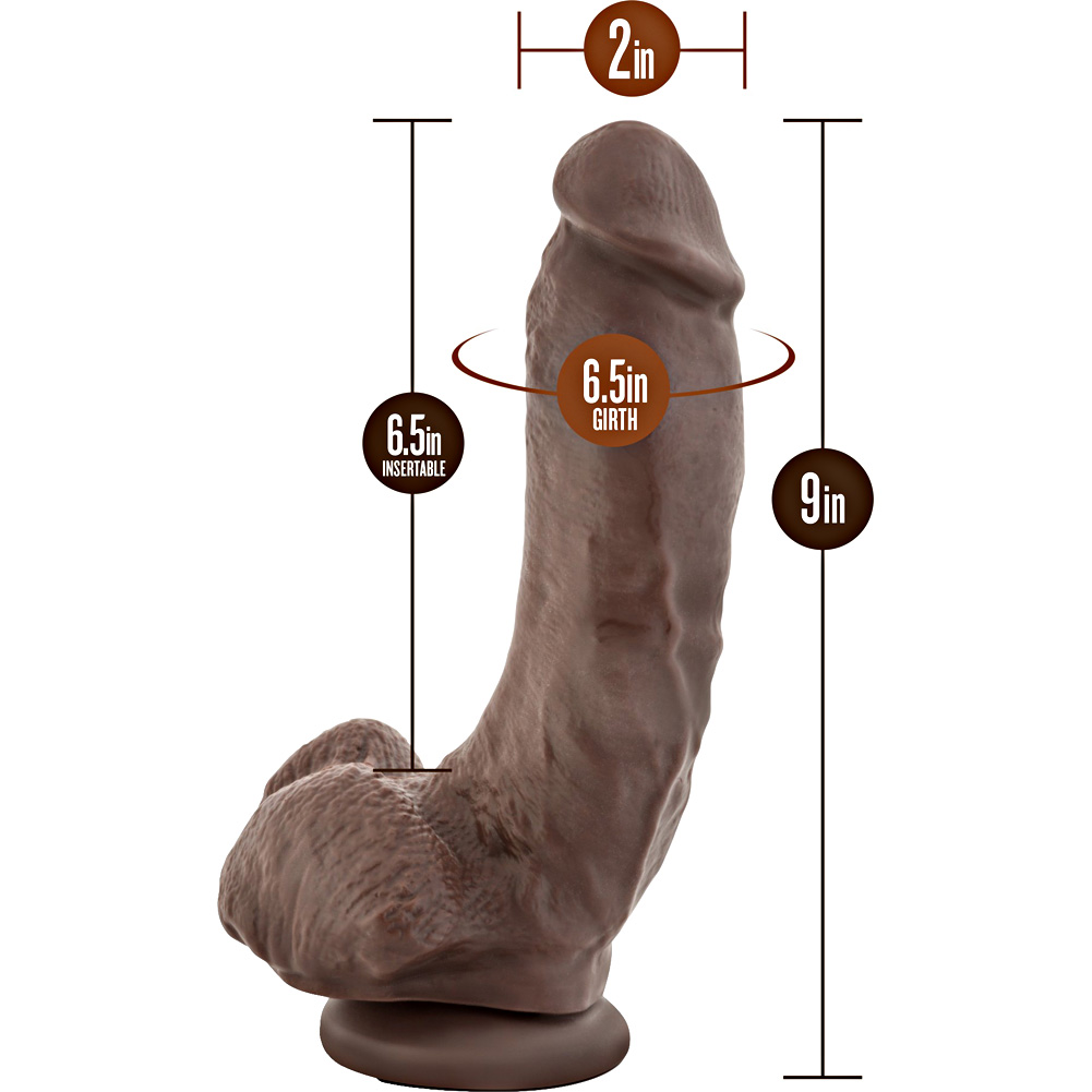 "Barry Extra Large Realistic Cock with Suction Mount Base 9"" Brown Bulk - View #1"