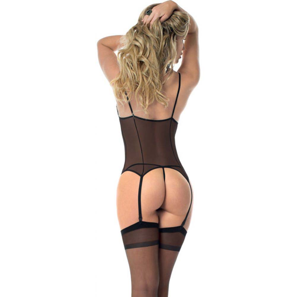 Open Cup Bustier Panty and Thigh Highs Black One Size - View #2