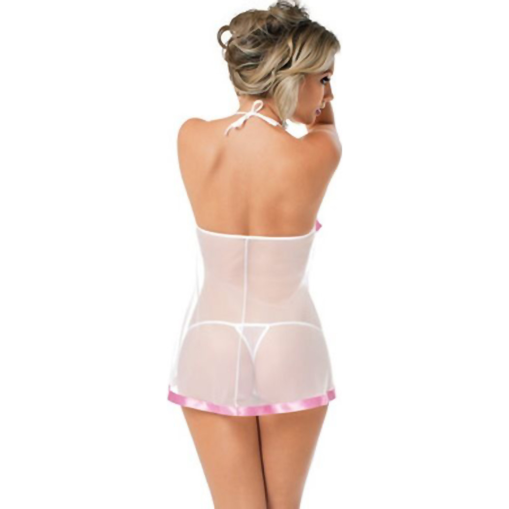 Sheer Chemise with Lace Cups and Pink Trim and Panty White One Size - View #2