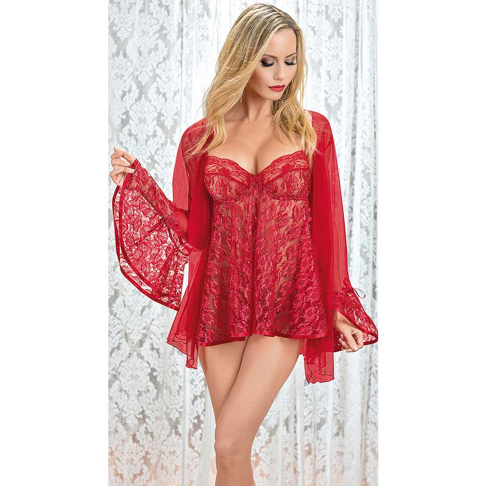 Lace Babydoll and Coat Red Small - View #2