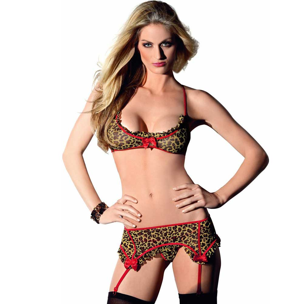 Tri Top Garter Belt and Hose Leopard One Size - View #1
