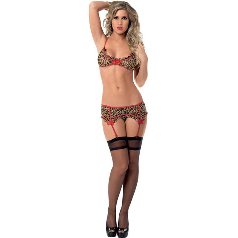 Tri Top Garter Belt and Hose Leopard One Size - View #3