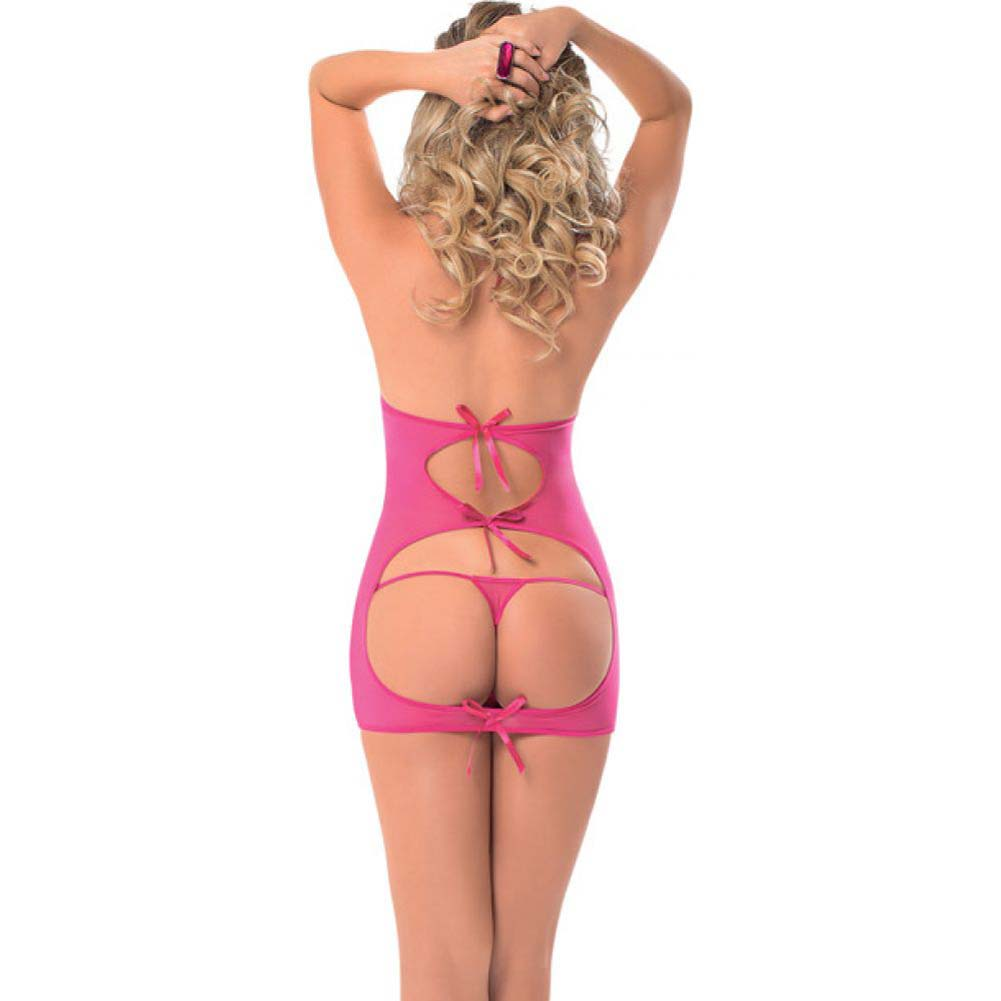 Halter Tie Chemise with Tie Open Back and G-String Racy Pink One Size - View #2
