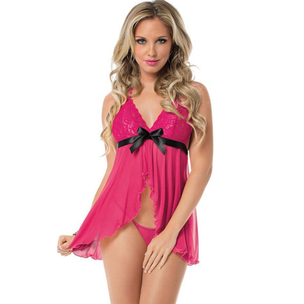 Escante Open Front Babydoll with Black Bow Accent and Panty One Size Pink - View #1