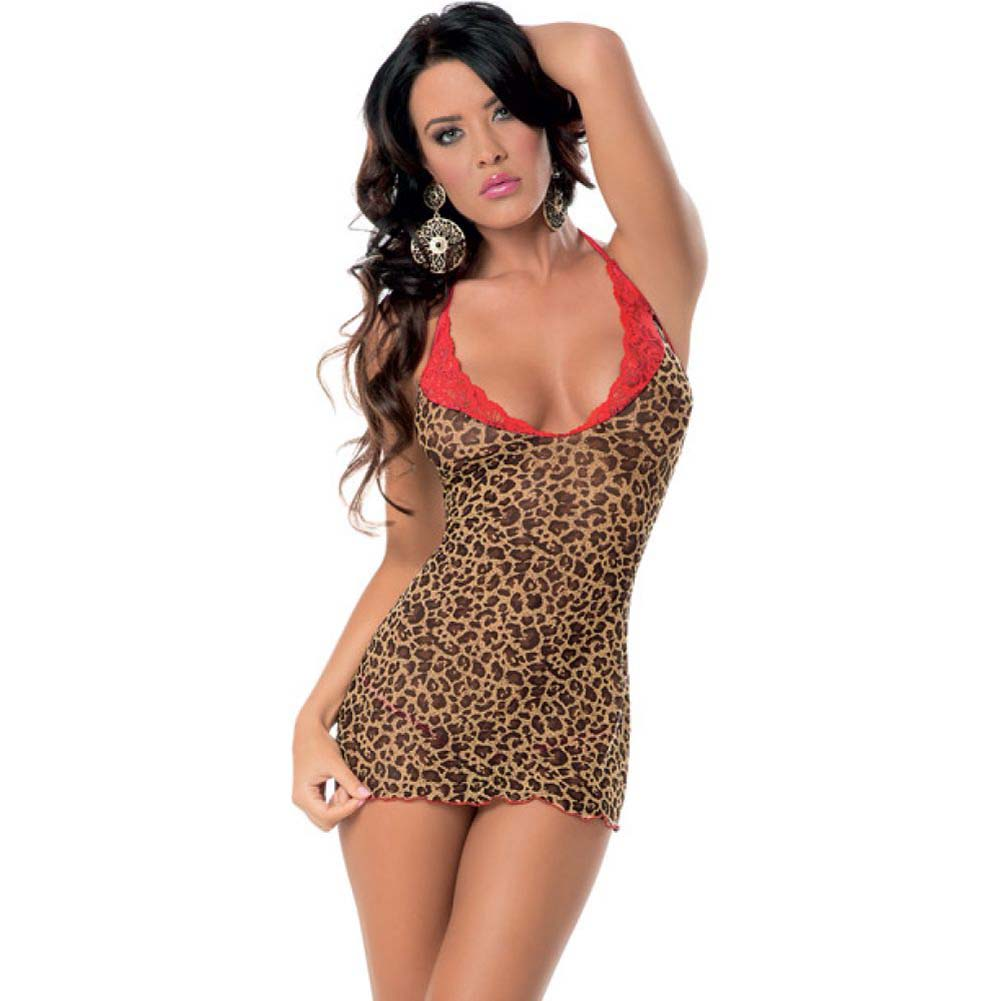 Chemise with Red Lace Trim and Panty Leopard One Size - View #1