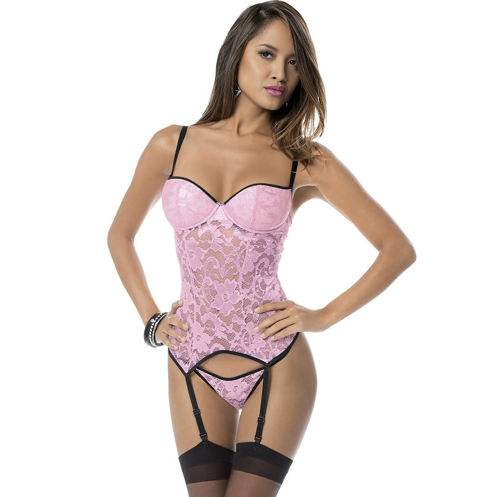 Lace Bustier with Molded Cups and Thigh Highs Pink Black Small - View #1
