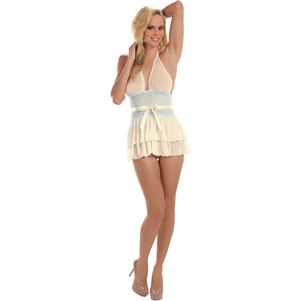 Sheer and Lace Halter Chemise Ivory Sweet Blue Small - View #2