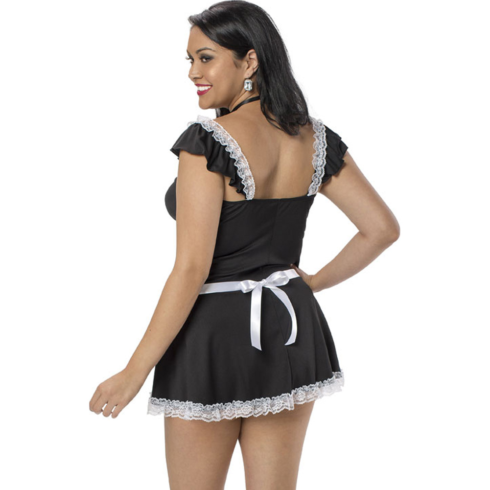 Chamber Maid Dress Apron Neck Ribbon and Panty Black White Queen - View #2