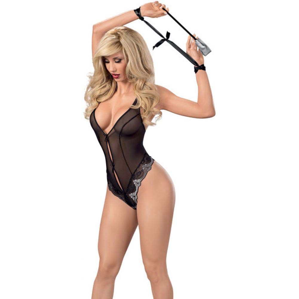 Lace and Mesh Teddy with Caged Bottom Restraints and Paddle Black Grey Medium - View #1