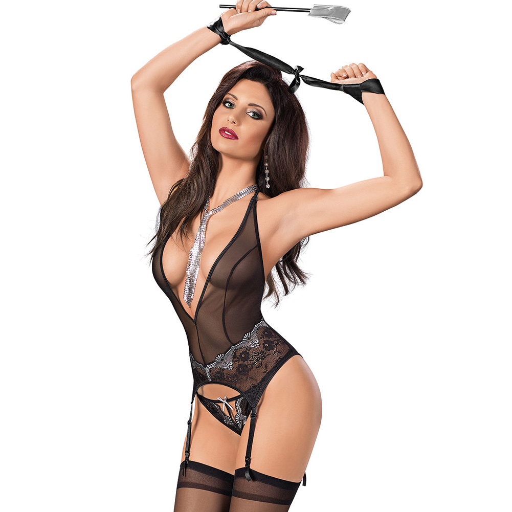 Inner Goddes Bustier with Restraints Paddle and Hose Black Grey Small - View #1