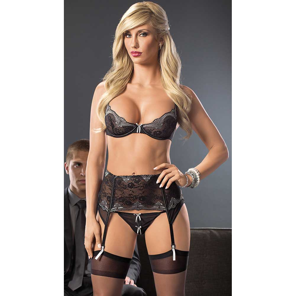 Lace and Mesh Bra Garterbelt with Front Boning G-String and Hose Black Grey Medium - View #3