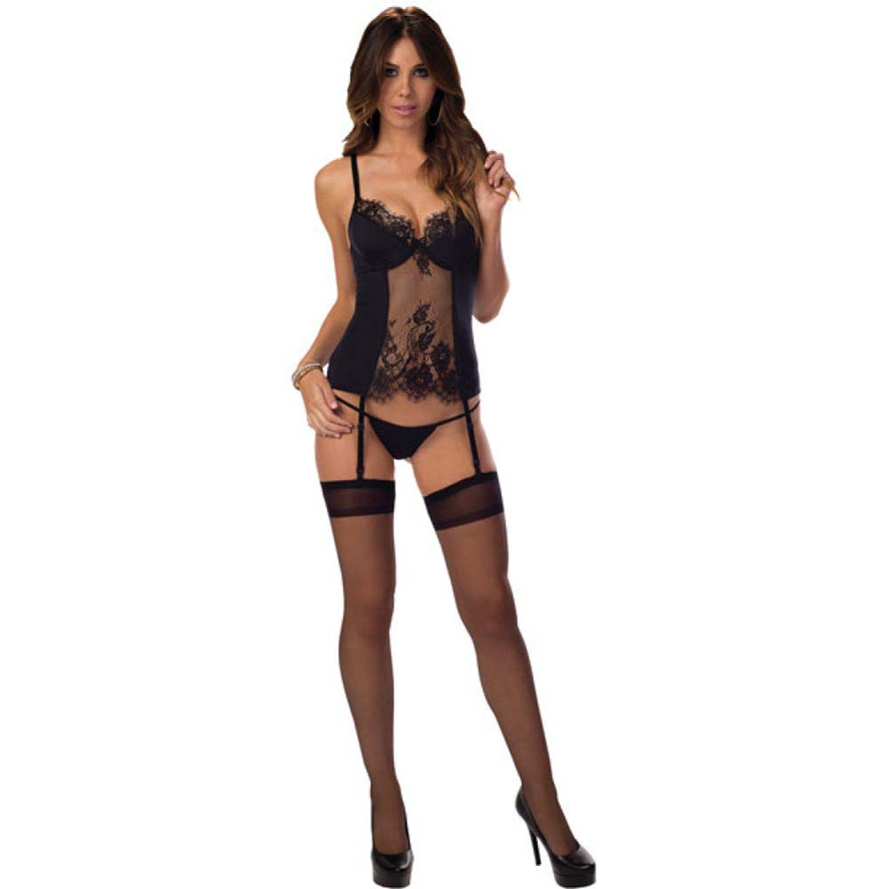 Flowered Lace Bustier with Thigh Highs Black Large - View #1