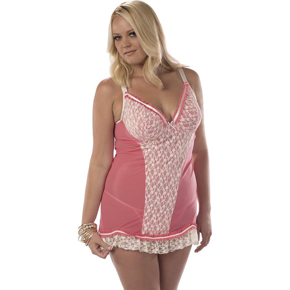 Chemise with Lace Front Overlay Coral Ivory 1X - View #1