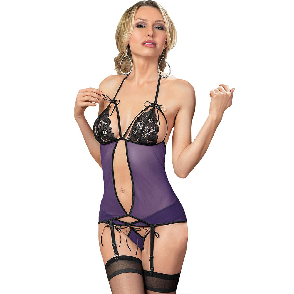 Halter Tie Bustier with Ribbon Tie Cups and Panty with Hose Purple Black One Size - View #1