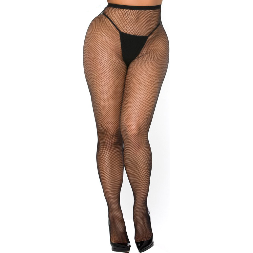 Cocolicious Pop Your Bubble Fishnet Open Back Pantyhose Black One Size - View #2