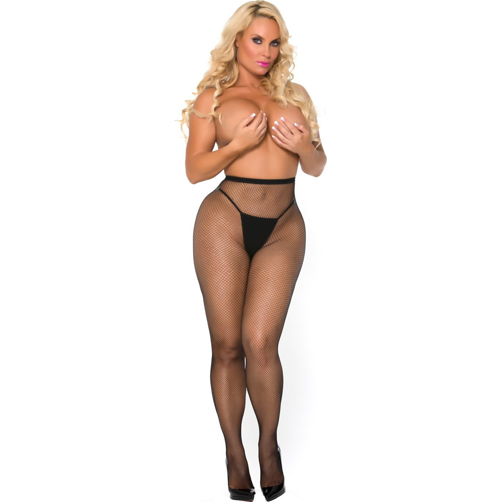 Cocolicious Pop Your Bubble Fishnet Open Back Pantyhose Black One Size - View #4