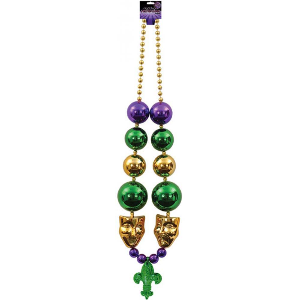 Sassigirl Night to Remember Jumbo Mardi Gras Beads with Mask - View #1