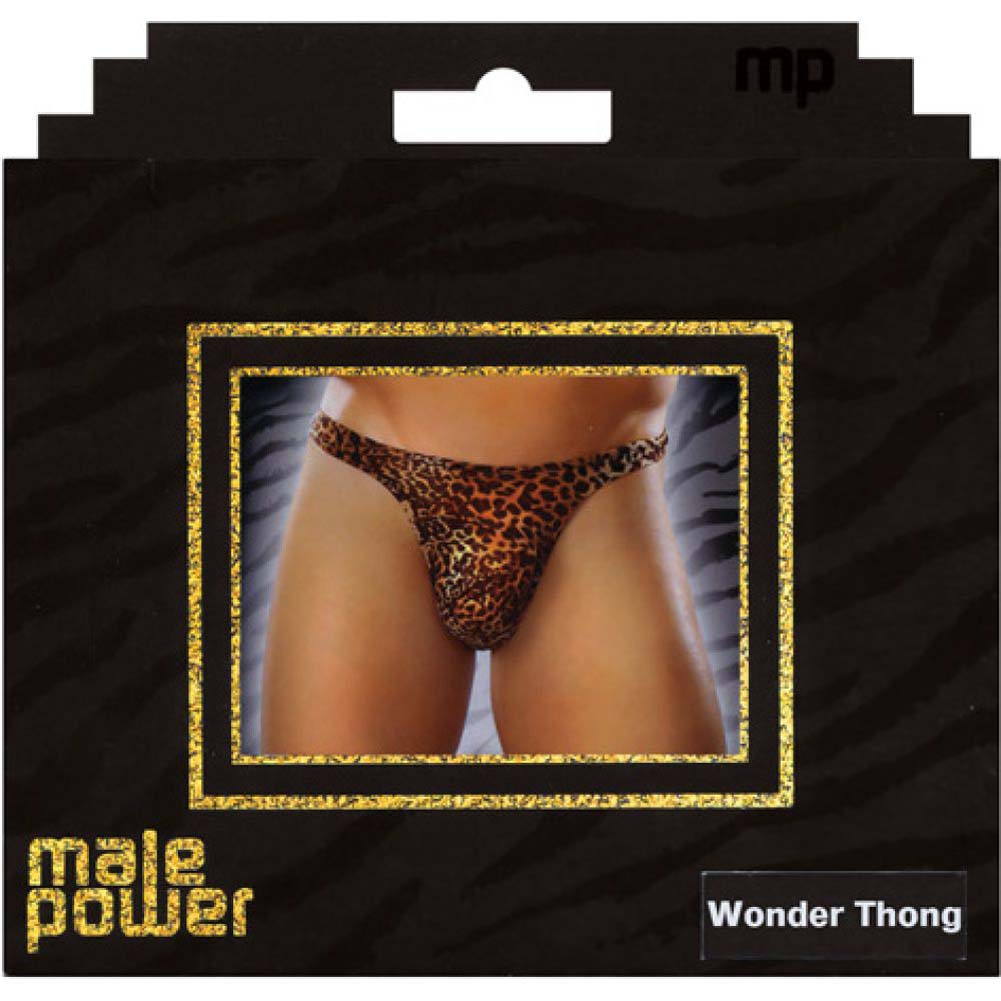 Male Power Micro Fiber Leopard Wonder Thong Large/Extra Large Animal Print Brown - View #2