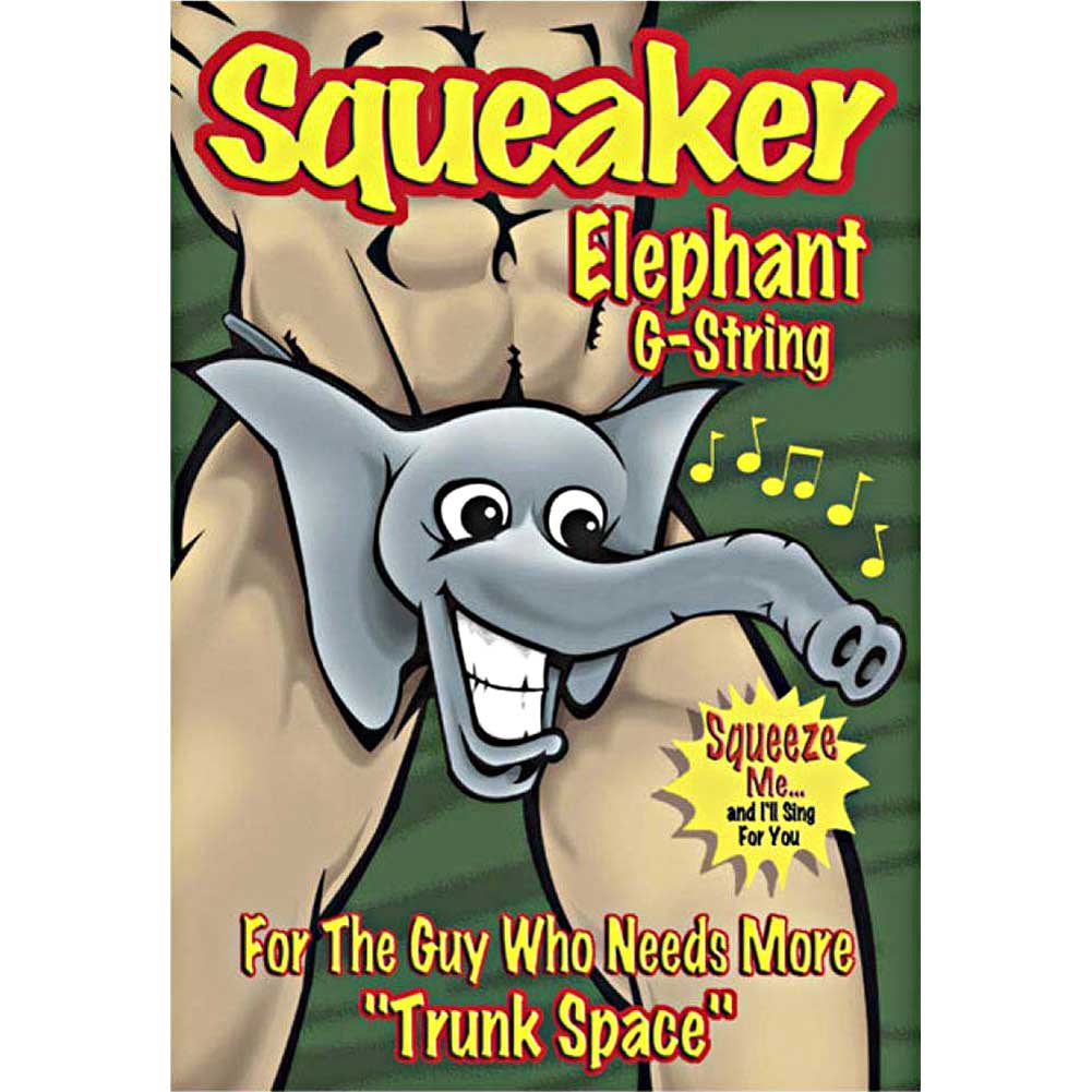 Male Power Squeaker Elephant G-String One Size Grey - View #3