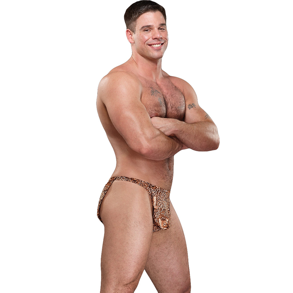 Male Power Tarzan Thong One Size Animal Print - View #3