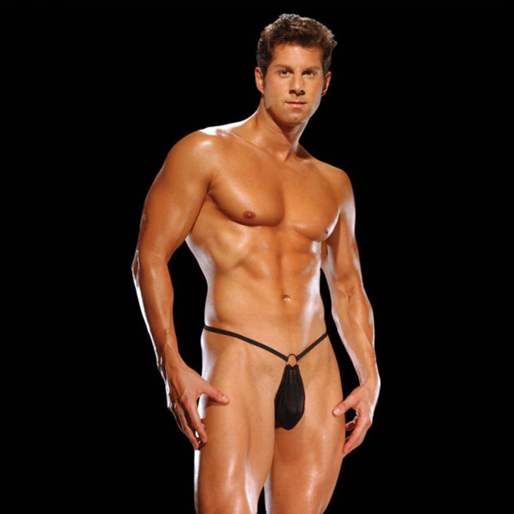 Male Power G-String with Front Ring Detail One Size Black - View #3