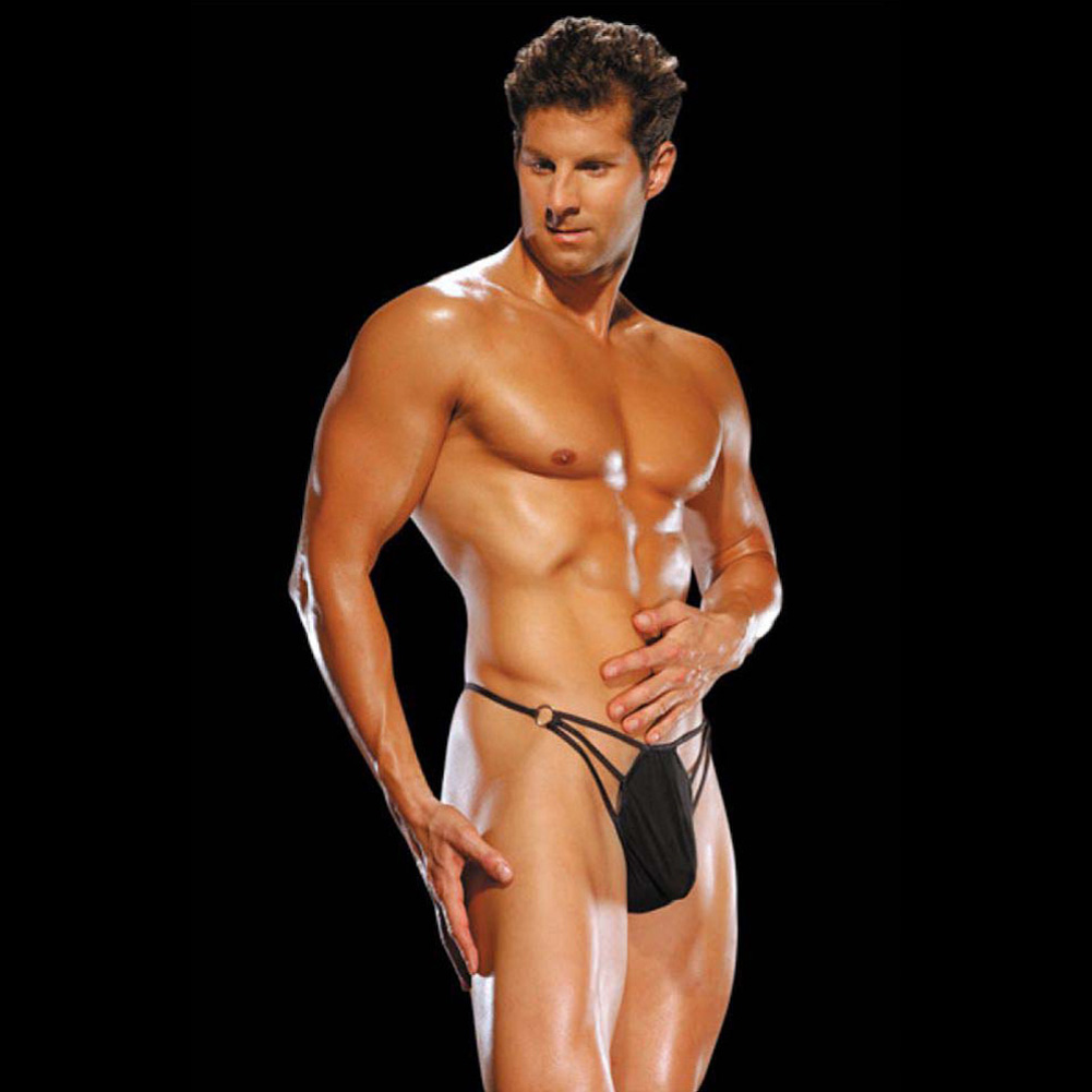Male Power G-String with Straps and Rings Large/Extra Large Black - View #2
