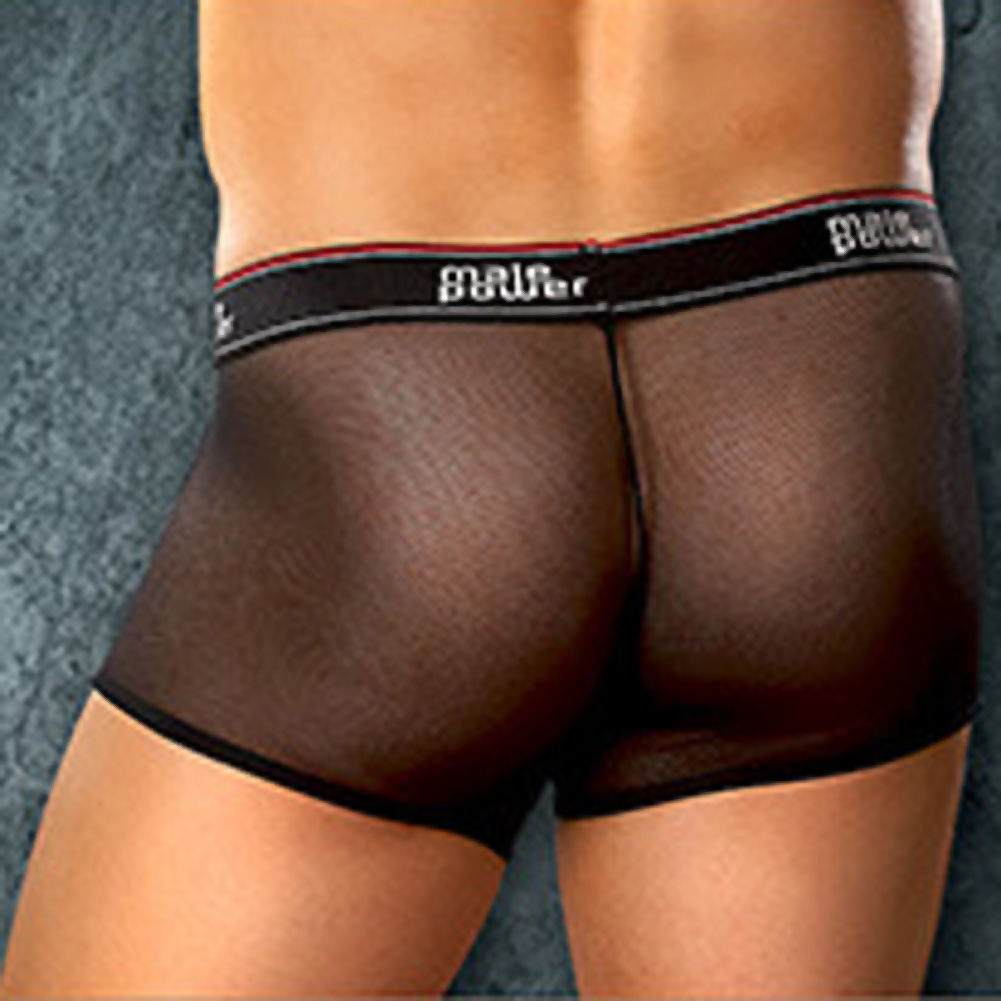 Male Power Mesh Branded Elastic Pouch Shorts Medium Black - View #2