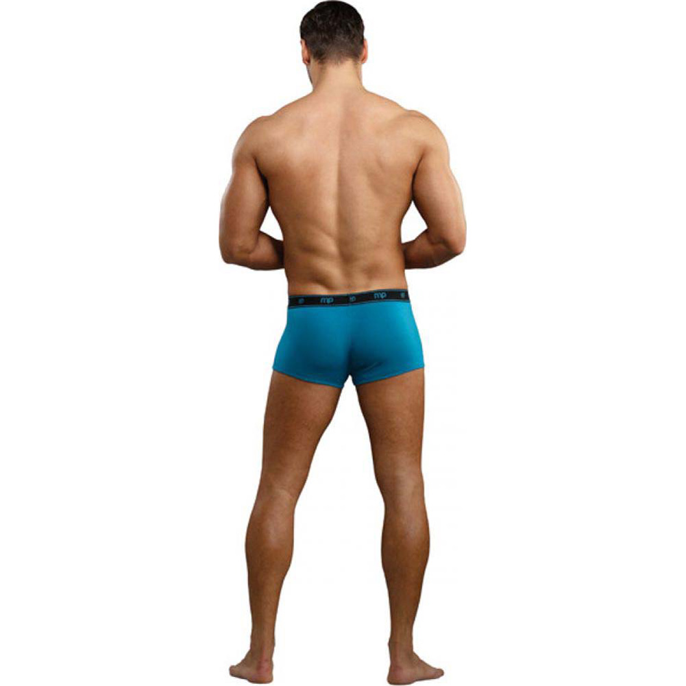 Male Power Bamboo Low Rise Pouch Enhancer Shorts Small Teal - View #2