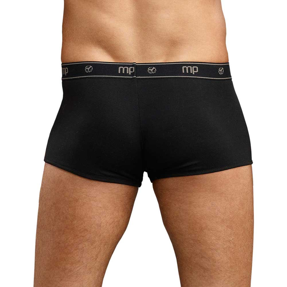 Male Power Bamboo Low Rise Pouch Enhancer Shorts Large Black - View #2
