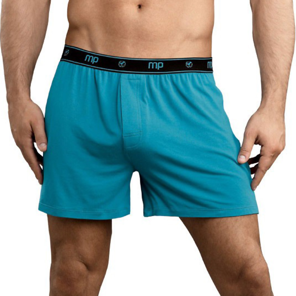 Male Power Bamboo Boxer Shorts Small Teal - View #1