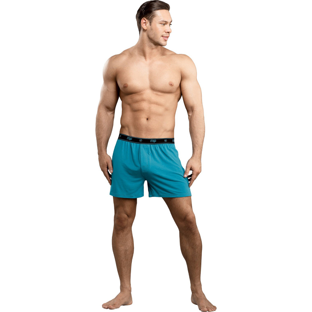 Male Power Bamboo Boxer Shorts Small Teal - View #3