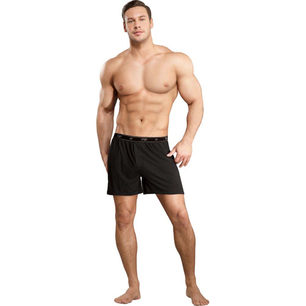 Male Power Bamboo Boxer Shorts Small Black - View #3