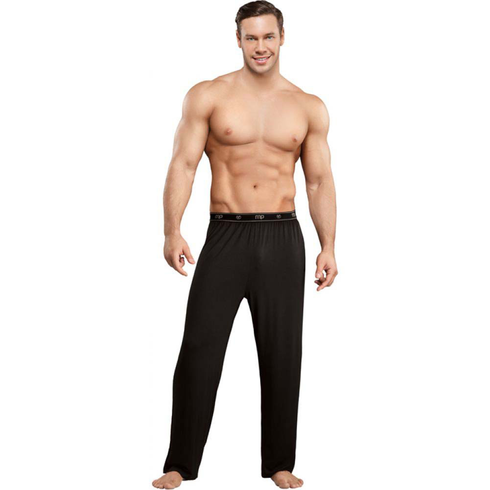 Male Power Bamboo Lounge Pants Medium Black - View #3