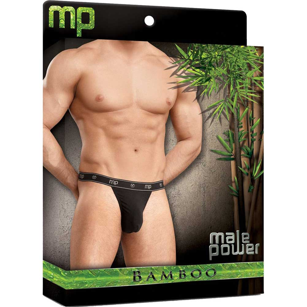 Male Power Bamboo Micro Thong Small Black - View #3