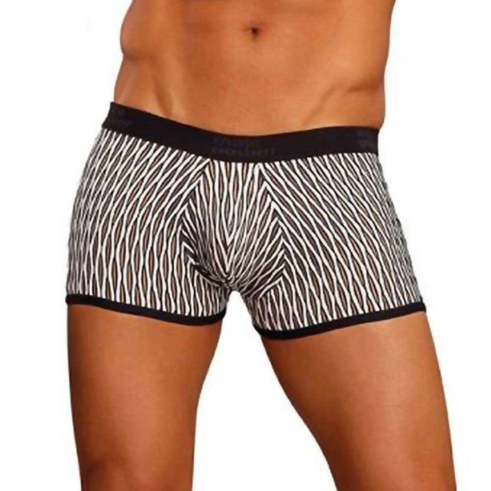 Male Power Wave Mini Pouch Short Medium White and Black - View #1