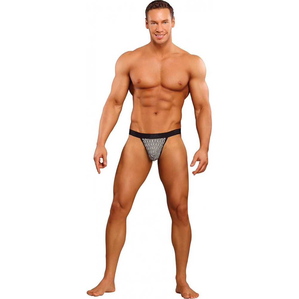 Male Power Classy Wave Micro Thong with Contour Pouch Extra Large Black/White - View #3