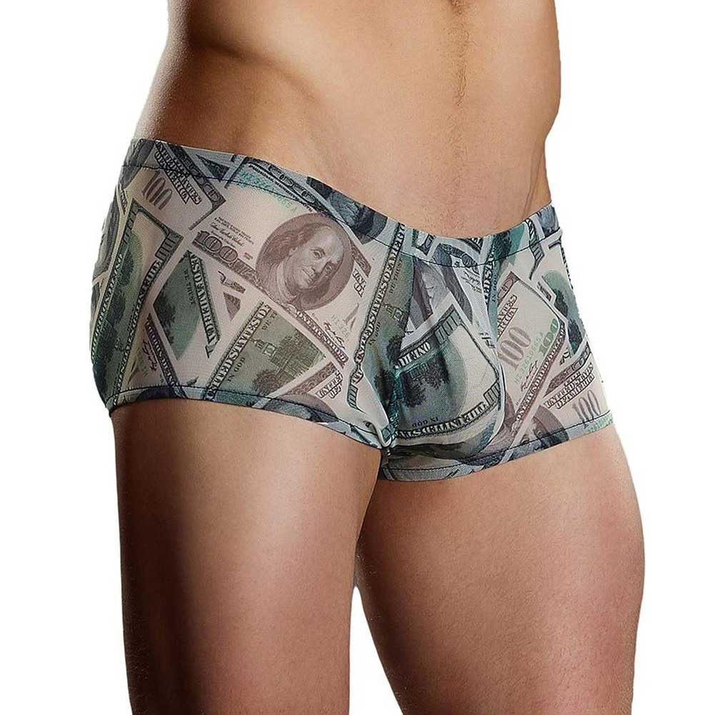 Male Power Benjamin Hundred Dollar Bills Printed Mini Shorts Medium Banknote Print - View #1