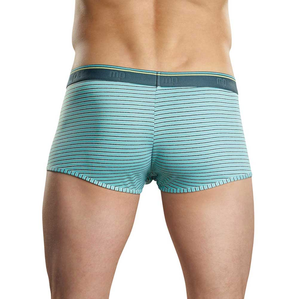Male Power Heather Stripe Pouch Enhancer Shorts Small Mint/Grey - View #2