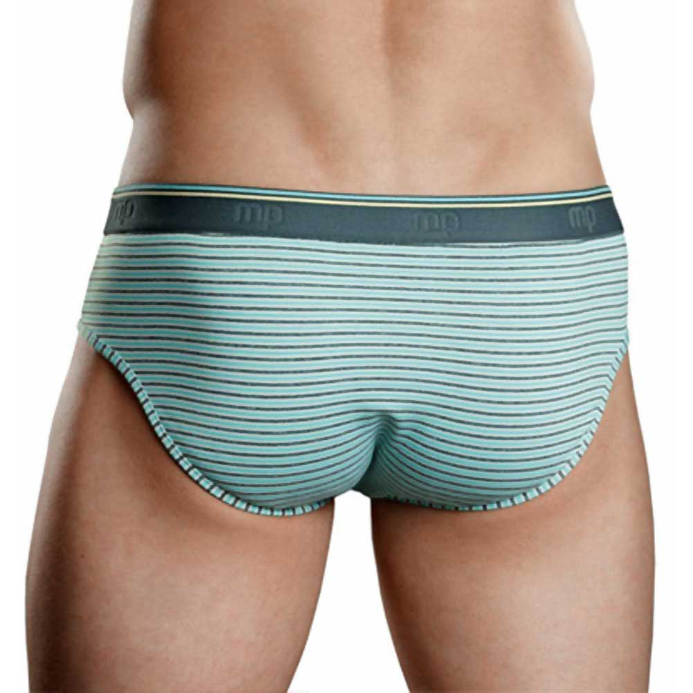 Male Power Heather Stripe Bikini Briefs Small Mint/Grey - View #2