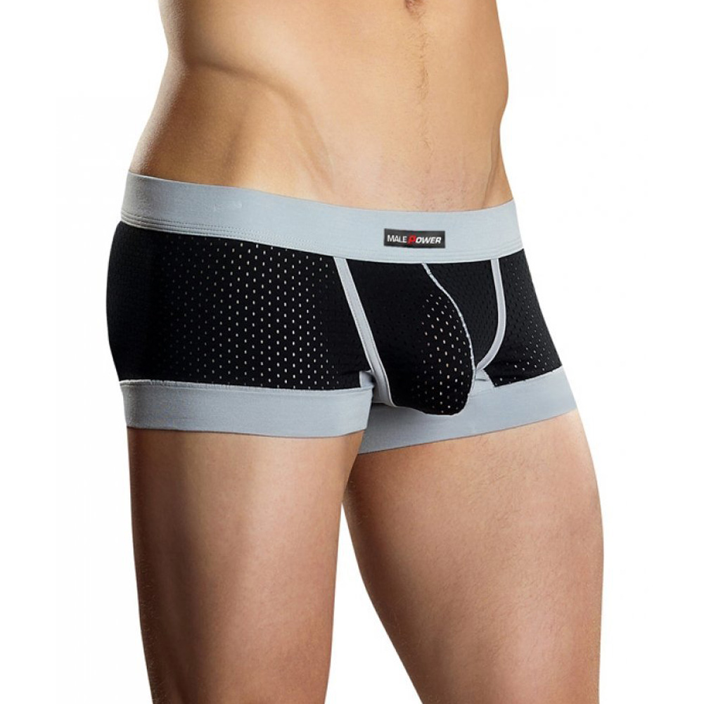 Male Power Athletic Mesh Sport Short Medium Black/Grey - View #1