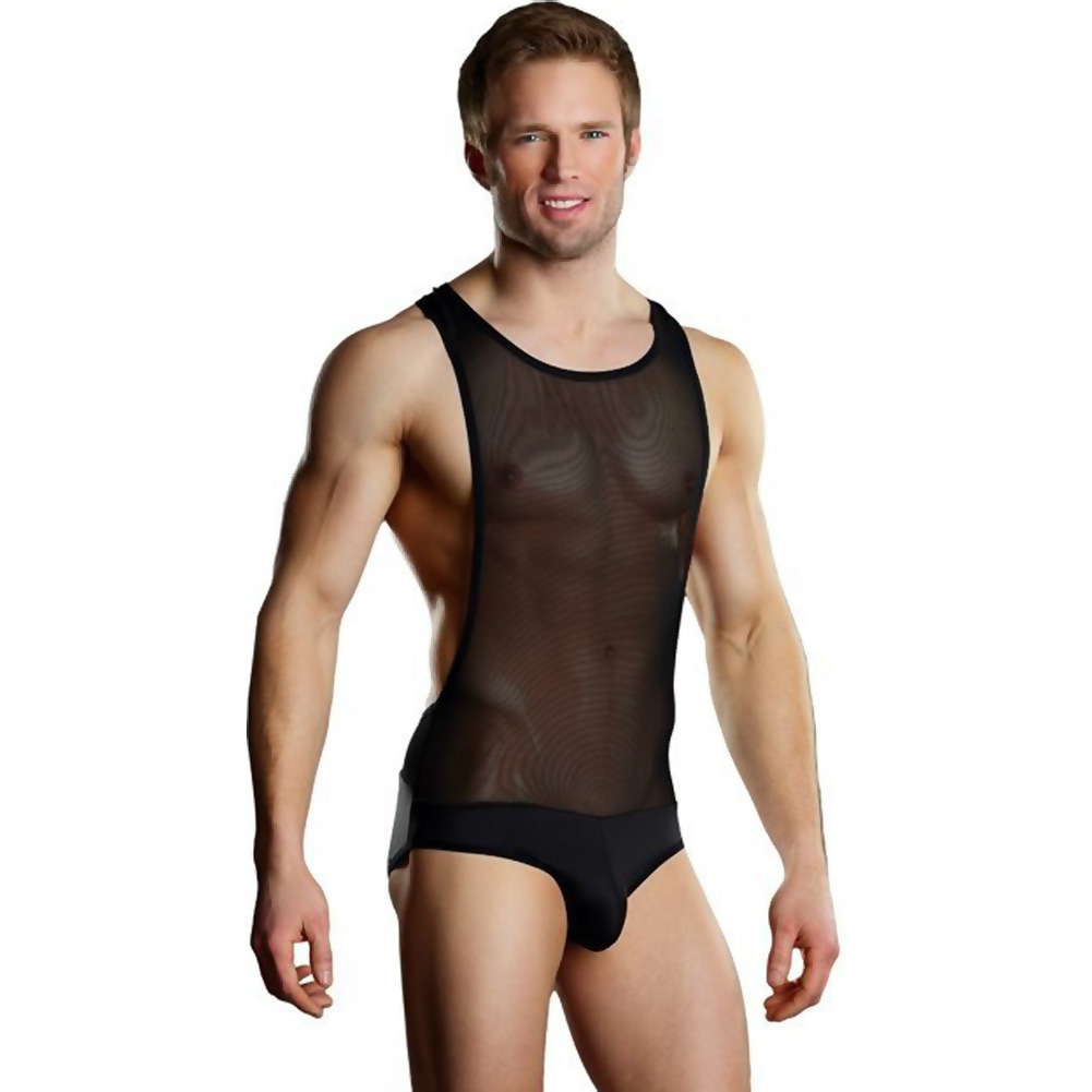 Male Power Sheer Spandex Bodysuit Singlet Large/Extra Large Black - View #1