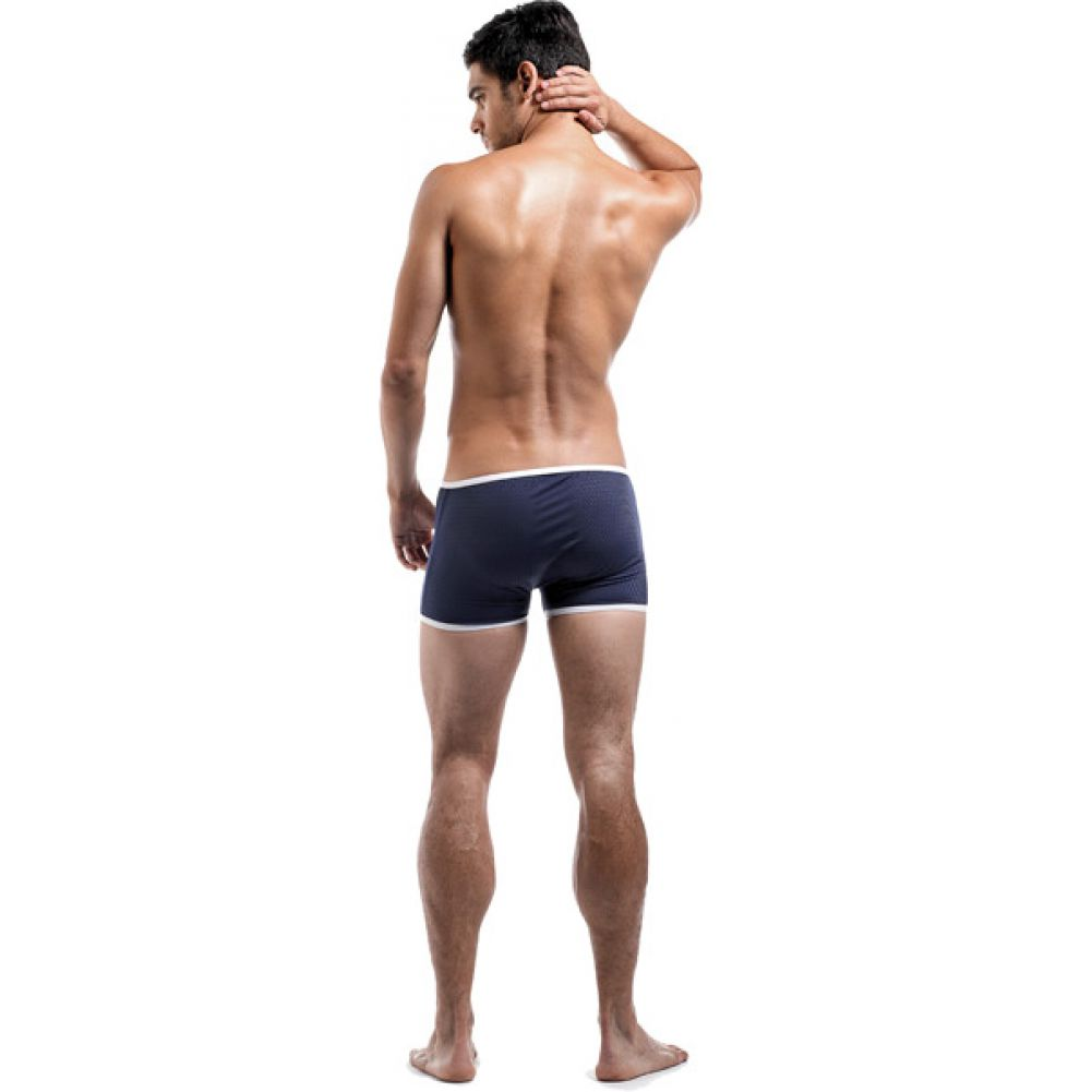 Male Power Fly Away Breathable Snap Pouch Shorts Small Navy - View #3